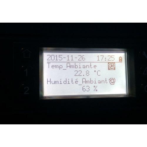 <i>Ecran de contrôle température et humidité sur DANX</i>